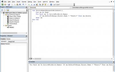 How to delete named range Excel using VBA