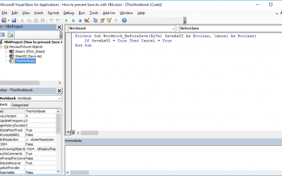 How to prevent Save As with VBA