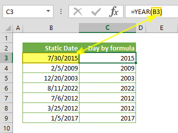 Excel Year Function