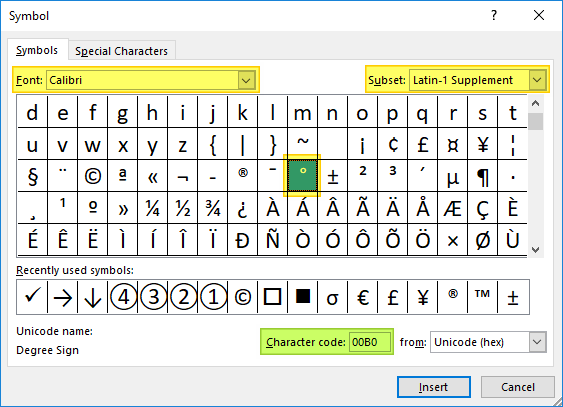 How-to-insert-a-degree-symbol-in-Excel-01