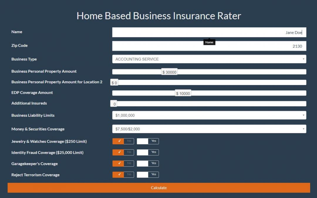 Home Based Business Insurance Rater