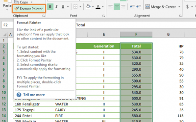 How to use format painter in Excel