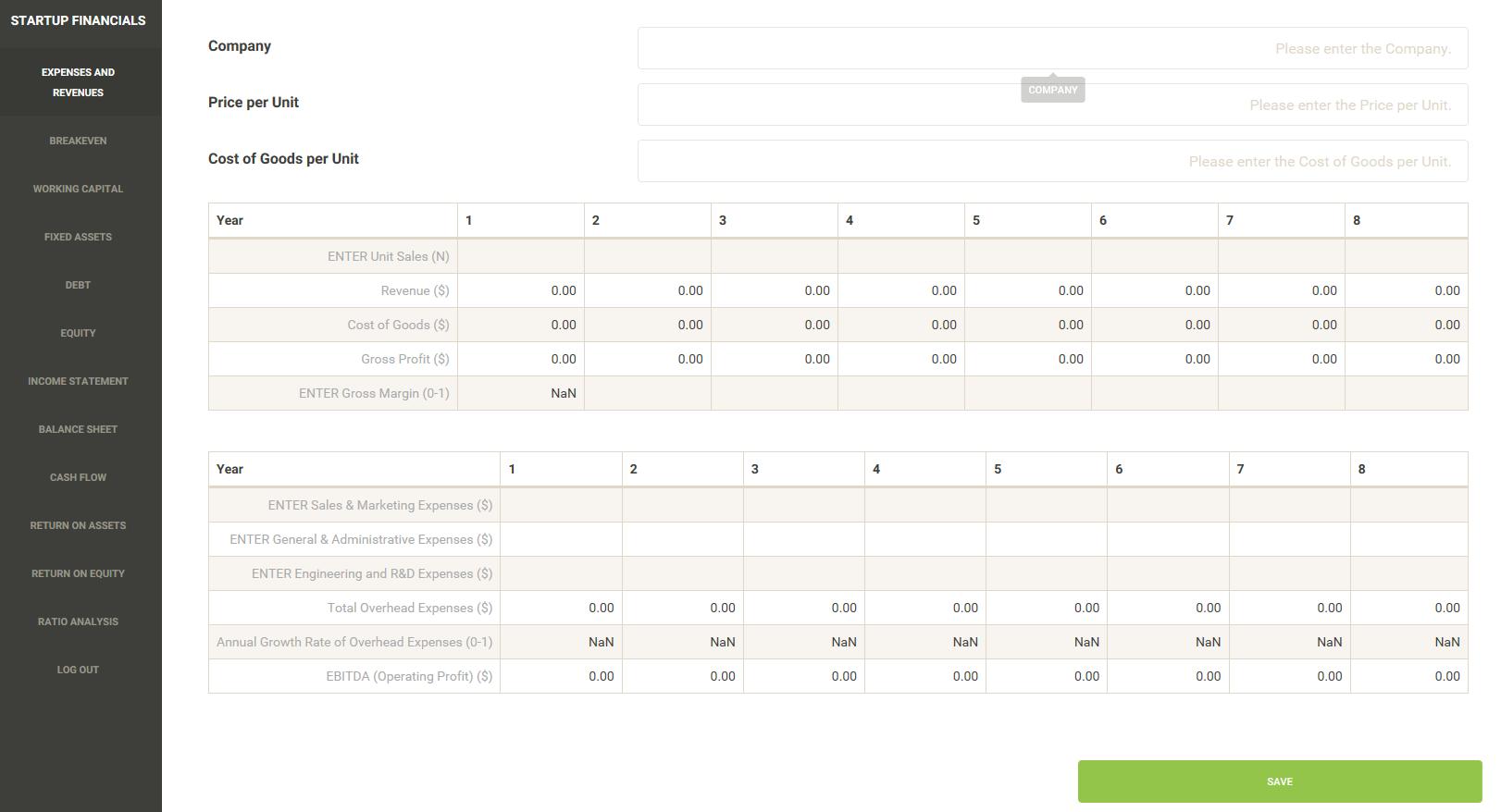 StartupFinancialsApp