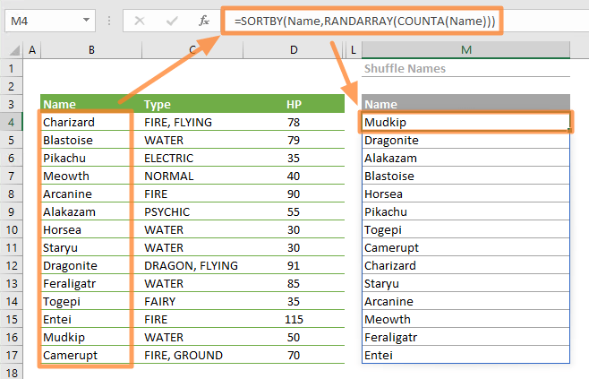 How to random sort in Excel using dynamic array functions