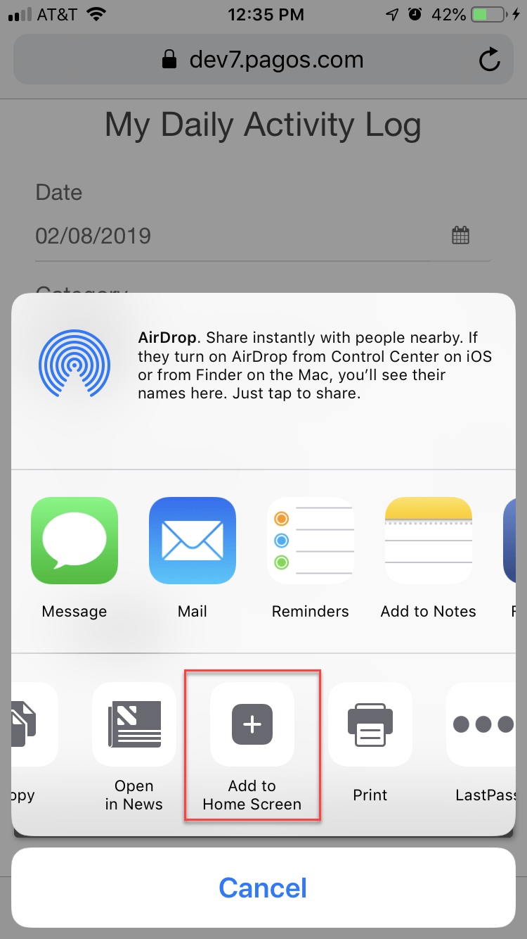Save SpreadsheetWEB Applications as Home Screen Apps on iOS