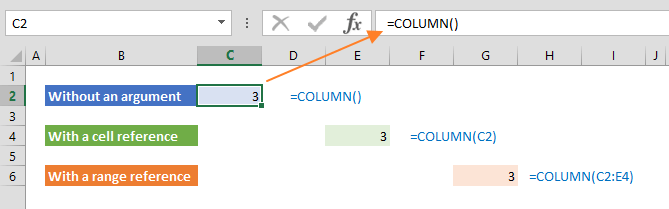 excel column function