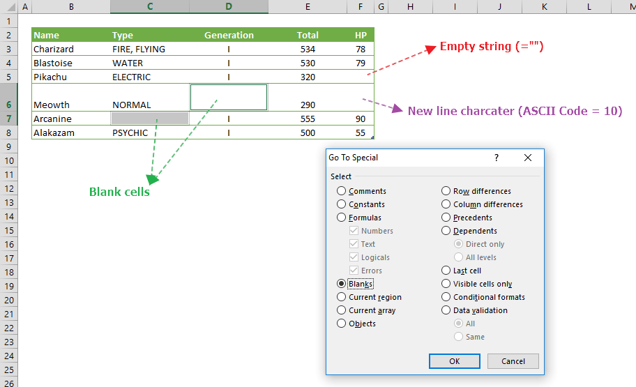 find blank cells in Excel
