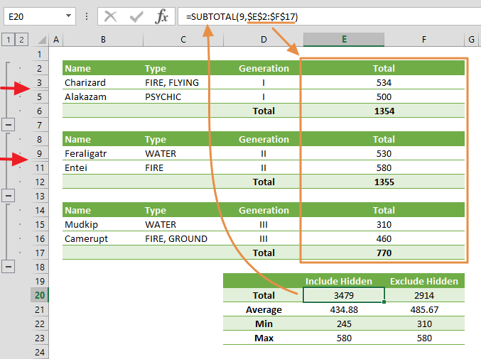 excel subtotal function
