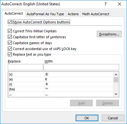 How to customize AutoCorrect