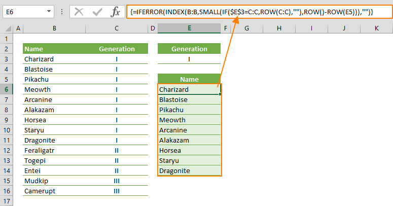 excel formula for filtering data