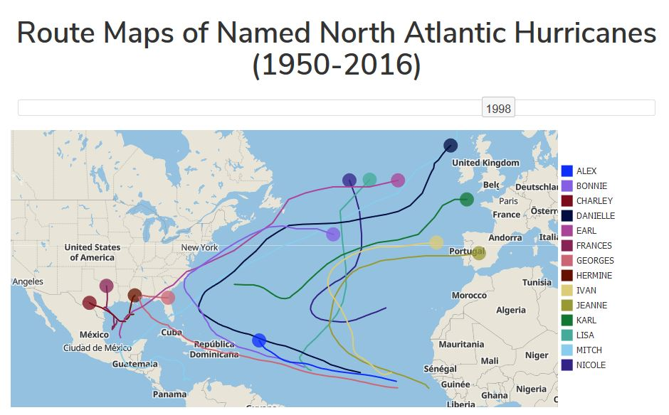 Route Maps of Named North Atlantic Hurricanes (1950-2015)