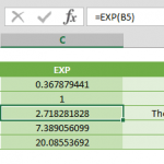 exp function excel