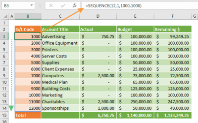 How to Generate a General Ledger (GL) List using SEQUENCE