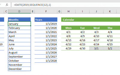 How to generate a date list using the SEQUENCE function