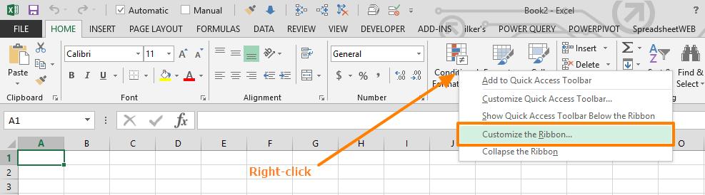 excel developer tab
