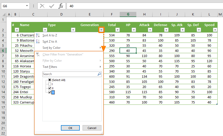 How to Filter a Table in Excel
