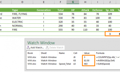 How to monitor formulas using the Watch Window Excel feature