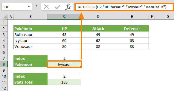 excel choose function