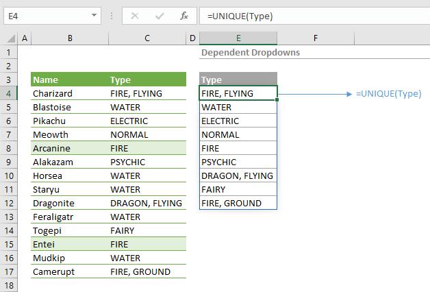 dynamic drop down list excel