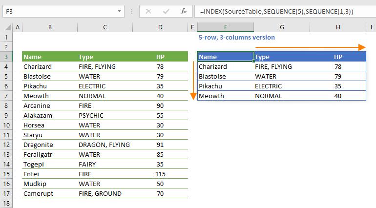 Excel dynamic list
