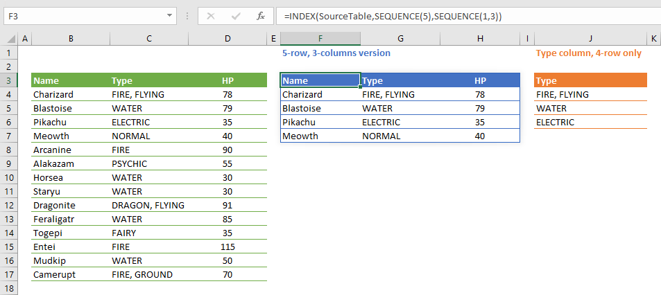 How to create an Excel dynamic list or a table without helper columns using SEQUENCE