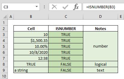 Function: ISNUMBER