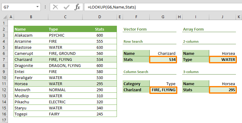 excel lookup function