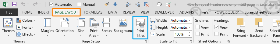 print header row in Excel