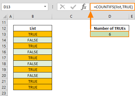 true function in excel