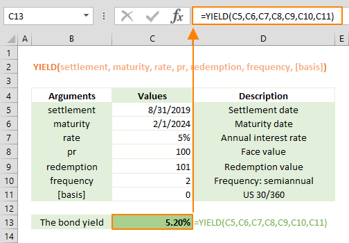 excel yield function