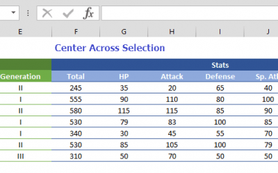 How to use Center Across Selection, an alternative to Merge Cells