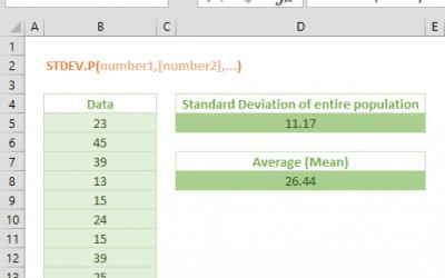 Excel STDEV.P Function
