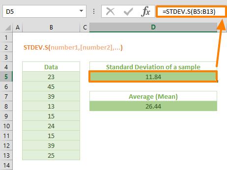 Excel STDEV.S Function