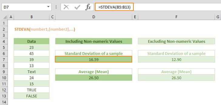 Excel STDEVA Function