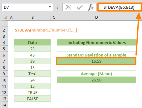 Excel STDEVA Function Example