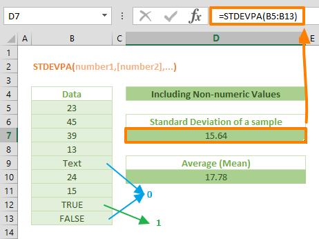 Excel STDEVPA Function 01