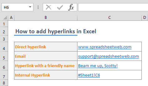 How to add hyperlinks in Excel