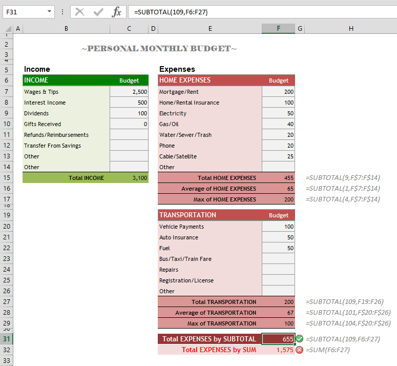 How to calculate subtotal in Excel