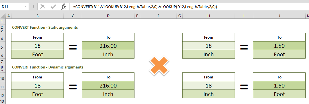 How to convert feet to inches, and vice versa in Excel