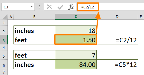 How to convert inches to feet in Excel 01