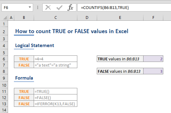 How to count Excel TRUE FALSE values