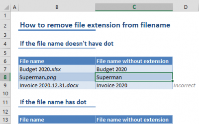 How to remove file extension from filename in Excel