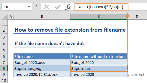 How to remove file extension from filename 01