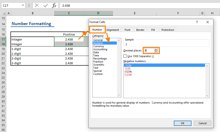 How to round numbers in Excel - Number Formatting