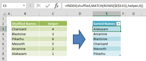 How to sort text in Excel using formulas