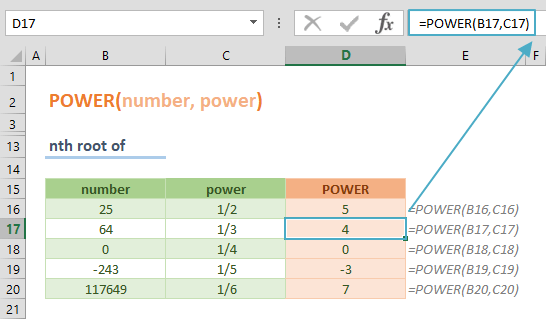 Excel POWER Function 03