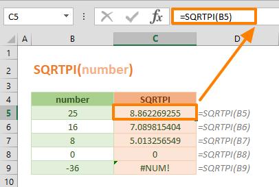 Excel SQRTPI Function 01