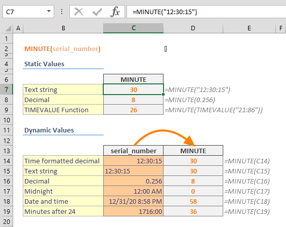 Excel MINUTE Function 01