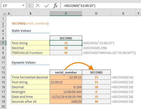 Excel SECOND Function 01