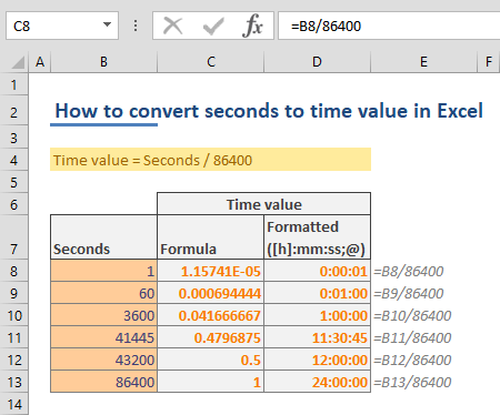 How to convert seconds to time value in Excel 02